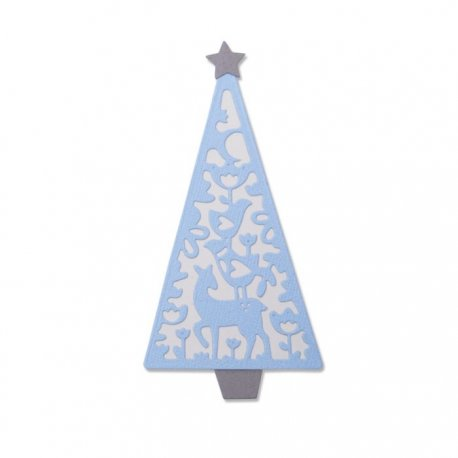 Fustella Sizzix Thinlits Die Set 4pk 663442 Albero di Natale in stile country
