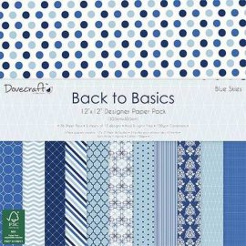 Blocco carta scrap 30x30 Back to Basics Blue Skies DCPAP031