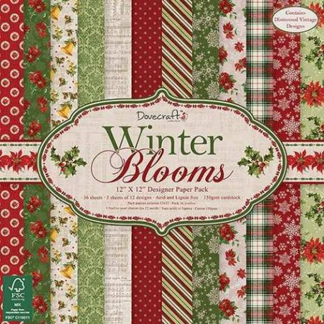 Dovecraft Winter Blooms 12x12 FSC Paper Pad DCPAP034