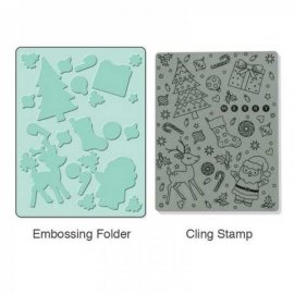 657770 Sizzix Textured Impressions Embossing Folder w/Stamp - Merry Background Set
