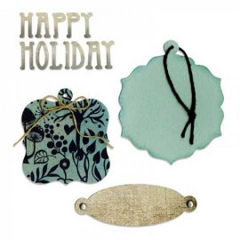 658177 Sizzix Bigz Die w/Bonus Sizzlits Die - Bookplate, Tags & Happy Holiday