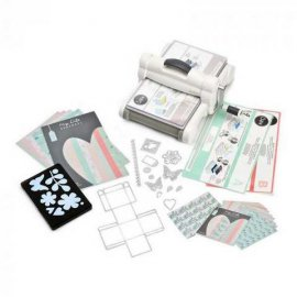 Sizzix Big Shot Plus Starter Kit bianca e grigia con carta e stoffa 661546