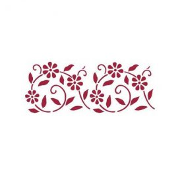 KSB102 Stencil B cm. 38x15 fiori stilizzati