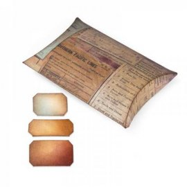 Movers & Shapers Sizzix L Pillow Box w/Labels by Tim Holtz 658268