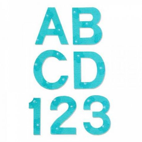 "Sizzix Bigz Alphabet Set 9 Dies - Block 1 1/2"" Capital Letters & Numbers A10083"