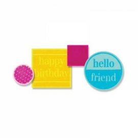 Sizzix Framelits Die Set 12PK w/Stamps - Friendly Phrases 659647