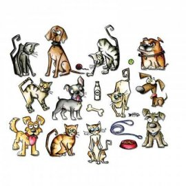Sizzix Framelits Die Set 45PK - Mini Crazy Cats & Dogs 661594