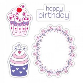 Sizzix Framelits Die Set 4PK w/Stamps - Happy Birthday Cupcakes Set 657853