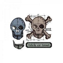 Sizzix Framelits Die Set 4PK w/Stamps - Skull Blueprint 659375