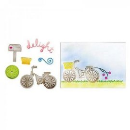 Sizzix Framelits Die Set 6PK w/Textured Impressions - Delightful Bicycle Set 658536