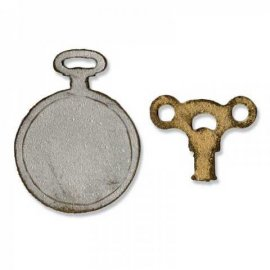 Sizzix Movers & Shapers Magnetic Die Set 2PK - Mini Clock Key & Pocket Watch 658561
