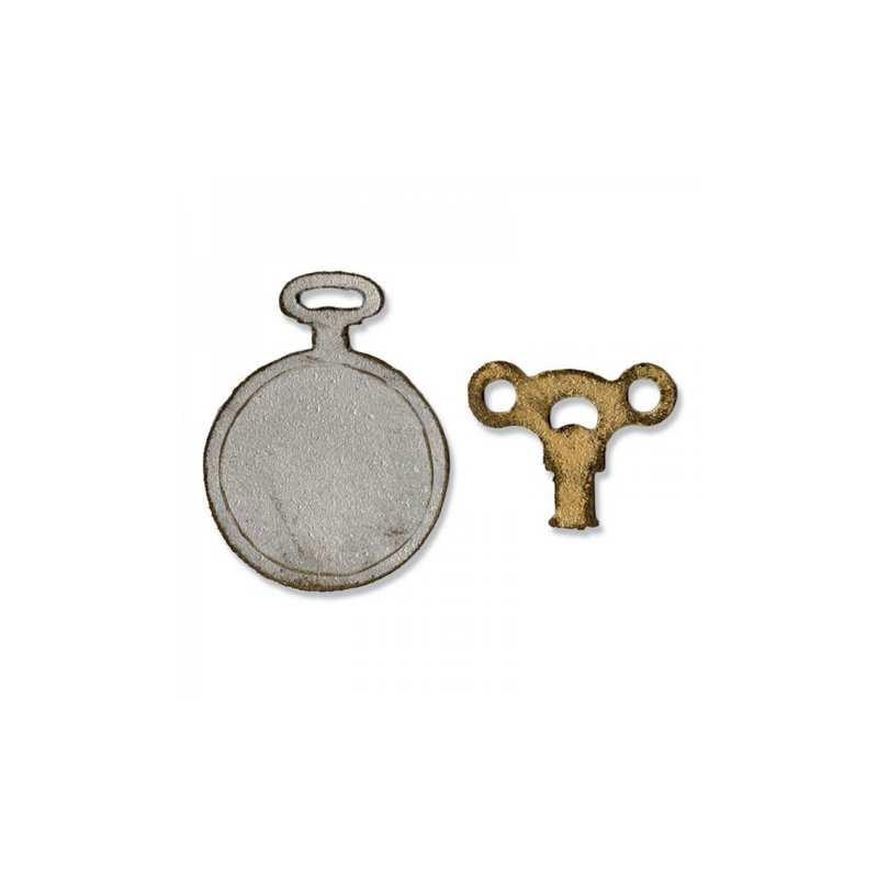 Sizzix Movers & Shapers Magnetic Die Set 2PK - Mini Clock Key & Pocket Watch 658561