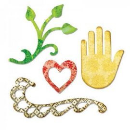 Sizzix Sizzlits Die - Flourish, Hand, Heart & Vine 658472