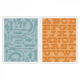 Sizzix Texture Fades Embossing Folders 2PK - Arrows & Boardwalk Set 659489
