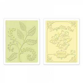 Sizzix Textured Impressions Embossing Folders 2PK - Ferns & Seed Packet Set  657665