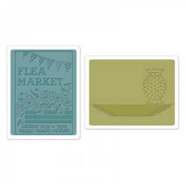 Sizzix Textured Impressions Embossing Folders 2PK - Flea Market & Hobnail Vase Set 658471