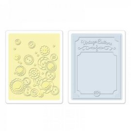 Sizzix Textured Impressions Embossing Folders 2PK - Vintage Buttons Set 657672