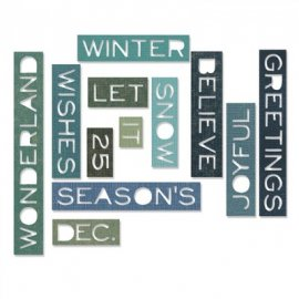 Sizzix Thinlits Die Set 12PK - Holiday Words: ThinItem -661600