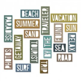 Sizzix Thinlits Die Set 18PK - Vacation Words: BlockItem -661287