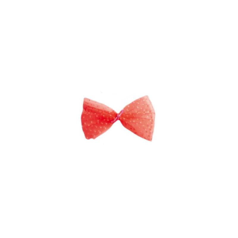 Rotolo in tulle floccato, a pois Rosso (h)10cm x 20 mt. CRNSTU01012