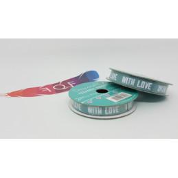 """Creative Ribbons, Rocchetto di Nastro 2m, Blu verde con scritte bianche """"WITH LOVE"""""""