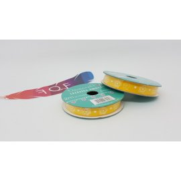 Creative Ribbons, Rocchetto di Nastro 2m, Giallo arancione con fiori bianchi