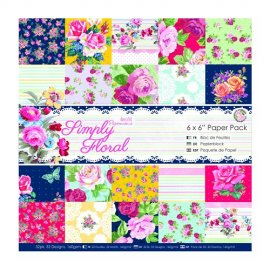 "PMA 160184 6""x6"" Paper Pack (32pk) - Simply Floral"
