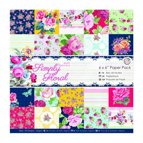 """PMA 160184 6""""x6"""" Paper Pack (32pk) - Simply Floral"""