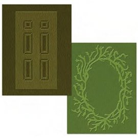 Sizzix Textured Impressions Embossing Folders 2PK - Door & Wreath Set 658430