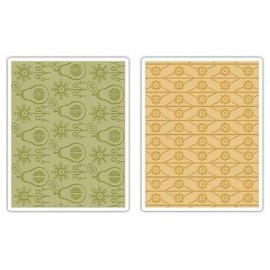 Sizzix Textured Impressions Embossing Folders 2PK - Flowers & Pears Set 657256