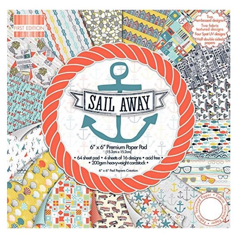 """Carta blocco Scrap Marinaio FEPAD086 Sail Away 15x15 cm (6"""" x 6"""")"""