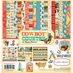 "Carta blocco Scrap - Cowboy Country - CBCC77016 30x30cm (12""x12"")"