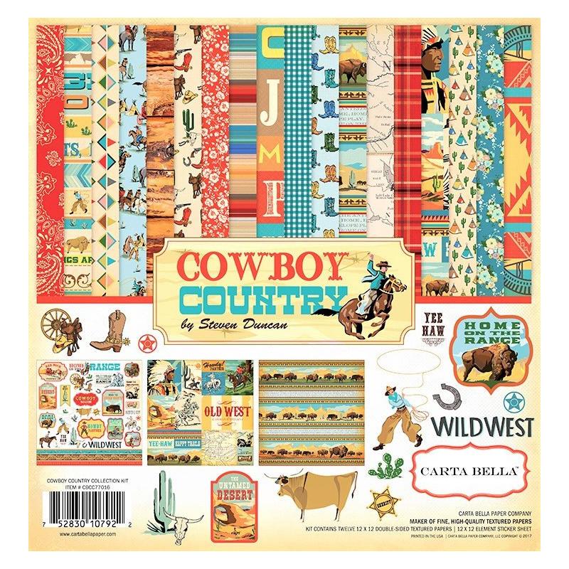 "Carta blocco Scrap - Cowboy Country - CBCC77016 30x30cm (12""x12"")"