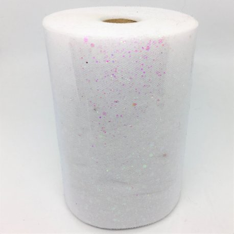 Rotolo in tulle floccato glitterato - ROSA