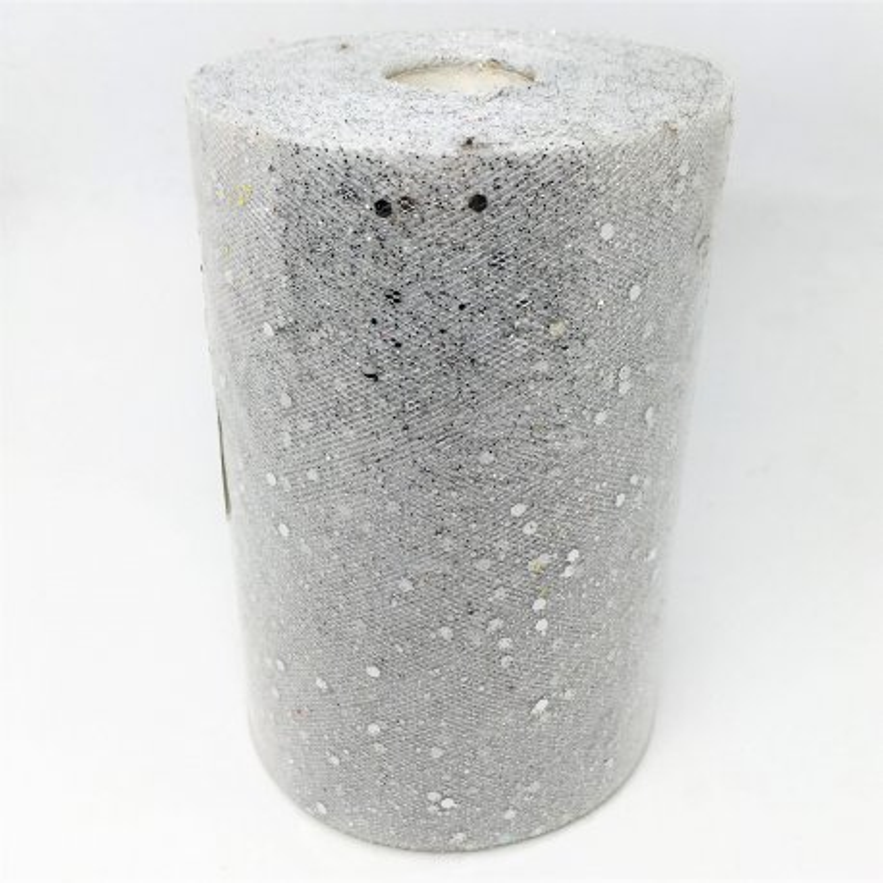 Rotolo in tulle floccato glitterato - ARGENTO