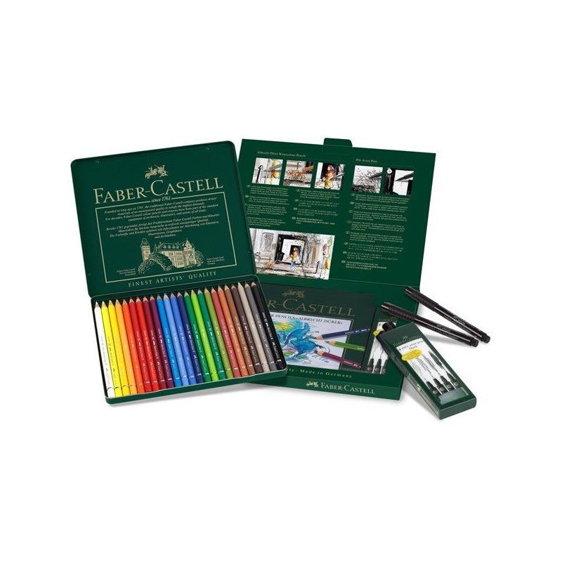 Confezione da 24 matite acquerellabili + 4 Pitt Artist Pens Faber-Castell 217504