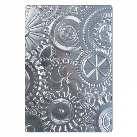 Sizzix 3-D Texture Fades Embossing Folder - Mechanics 662715